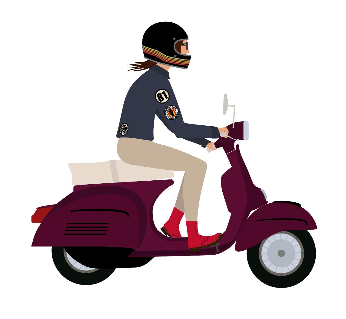Scootergirl Vespa Illustration